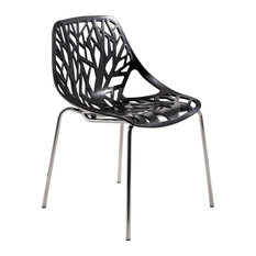 Asbury Dining Chair With Chromed Legs, Black