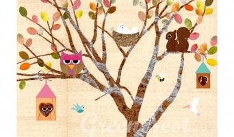 Poster: Baum mit Waldtieren