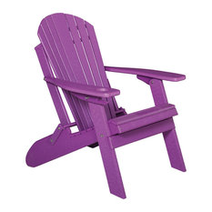Deluxe Premium Poly Lumber Folding Adirondack Chair With Cup Holder, Purple