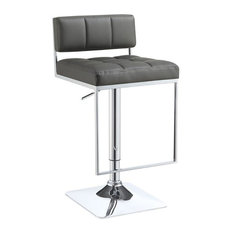 Coaster Leather Adjustable Bar Stool In Gray And Chrome