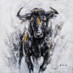 "IICART Inc - ""Fearless Bull Hand Painted"" Canvas Artwork, 40""x40"" - *Hand-painted:100% hand-painted high quality oil paintings by professional artist. As each painting is 100% hand-painted, actual paintings may be slightly different from the product image due to different brand of monitors."