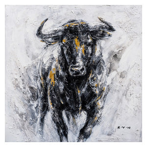 """Fearless Bull Hand Painted"" Canvas Artwork, 40""x40"""