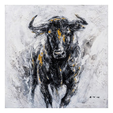 """""""Fearless Bull Hand Painted"""" Canvas Artwork, 40""""x40"""""""