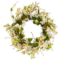 "20"" Daisy Wreath With Pips and Leaves"