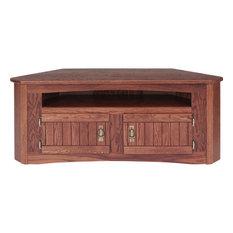 The Oak Furniture Shop   Solid Oak Mission Style Corner TV Stand With  Cabinet, Golden