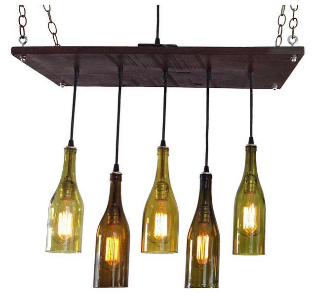 5 wine bottle chandelier industrial chandeliers by industrial 5 wine bottle chandelier antique white base no bulbs suspended aloadofball Choice Image