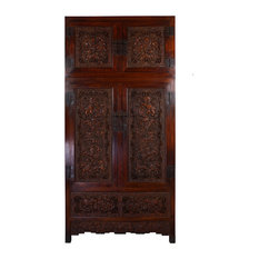 Consigned Chinese Antique Carved Camphor Wood Compound Wardrobe 17LP46