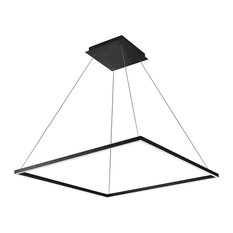 "39"" Atria LED Square Chandelier, Adjustable Suspension Fixture, Black"