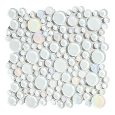 """11""""x11"""" Glass Mosaic Tile, Bubble Collection, Mist, Mixed Rounds, Set of 5"""