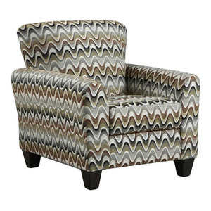 Retro Styled Floral Accent Chair With Decorative Rolled