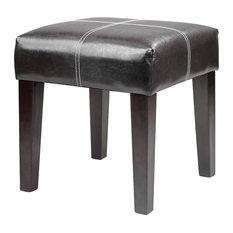 "CorLiving Antonio 16"" Square Bench in Black Bonded Leather"