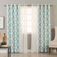Tulle and Faux Silk Reverse Moroccan Blackout, 4-Piece Set, Sky Blue