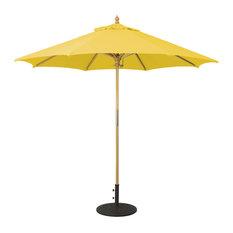 9' Wooden Patio Umbrella With Manual Lift, Lemon Yellow