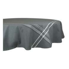 """DII Gray French Chambray Tablecloth 70"""" Round"""
