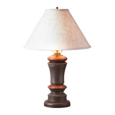 Peppermill Lamp in Black with Linen Shade