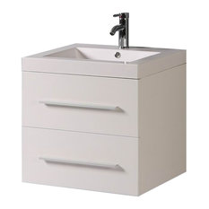 24 inch Belvedere Modern White Wall Mounted Bathroom Vanity