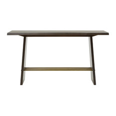 Modrest Selena Modern Acacia And Brass Console Table