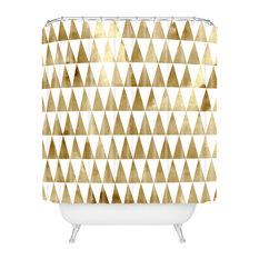 Georgiana Paraschiv Triangle Pattern Gold Shower Curtain, Standard