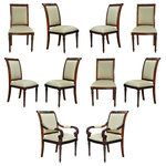 Niagara Furniture - Carved Empire Upholstered Chairs, set of 10 - The Niagara Furniture set of 10 Carved Empire Upholstered Chairs comprise of a group with 2 arm chairs and 8 side chairs. All chairs with a carved top rail and featuring a fully upholstered back which gives this chair a great quality designer look as well as a maximum comfort while seated for dinner. The drop in seat provides the ability to have the fabric changed somewhat easily should you decide to customize the chair with fabric of your choice. The hand carved solid mahogany frames are produced from kiln dried, plantation grown mahogany. The Carved Empire Upholstered Chairs ship out with our most popular, neutral green strip fabric, suitable for use in almost any setting.