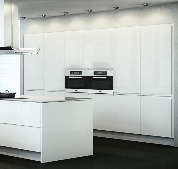 White Gloss Handleless Kitchen Cabinet Doors - Contemporary ...