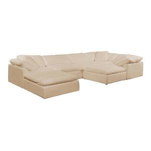 7-Pc Slipcovered Modular Sectional Sofa with Ottomans   Performance Fabric Tan