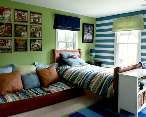 Example Of A Classic Boy Carpeted Kids Room Design In Boston With Green Walls