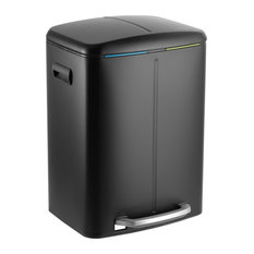 Marco Rectangular 10.5-Gallon Double Bucket Trash Can With Soft-Close Lid, Black