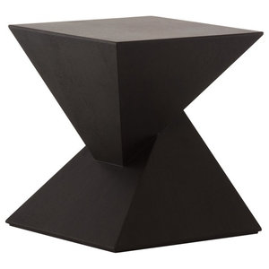 "17.8"" Tall Side Accent Table Black Veneer Wood Double Pyramid Design"