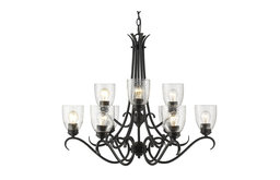 Parrish 9-Light Chandelier, Black With Seeded Glass