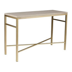 Southern Enterprises   Southern Enterprises Orinda Faux Stone Console Table,  Travertine   Console Tables