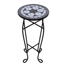 VidaXL Mosaic Side Table and Plant Table, Black and White