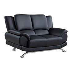 Bonded Leather and Leather Match Love Seat With Chrome Legs, Black
