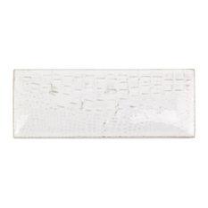 "Dallas Smooth Pillowed 3""x8"" Ceramic Subway Tile, True White"