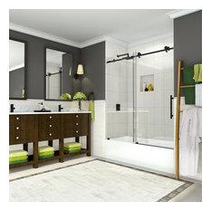 """Coraline 56""""-60""""x60"""" Frameless Sliding Tub Door, Oil Rubbed Bronze"""