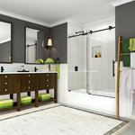 """Aston - Coraline 56""""-60""""x60"""" Frameless Sliding Tub Door, Oil Rubbed Bronze - The Coraline Completely Frameless Sliding Tub Door model - A tub-height sliding glass door for an existing 60 in. tub alcove.  With premium clear 3/8 in. thick ANSI-certified tempered glass that includes StarCast by EnduroShield coating to ensure that your door stays beautiful for years to come and an innovative two-wheeled roller system.  The Coraline is available with stainless steel, chrome or oil rubbed bronze hardware options.  Coraline's variety of finishes and glass will create an upscale custom solution for your existing tub alcove.   Images are for representation only. Once installed, glass may differ slightly than shown in image due to the nature of light absorption and reflection from your own bathroom's color, design or decor palette. This is normal and should be expected in certain scenarios due to the glass's natural composition."""