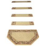 """Dean Flooring Company - Tape Free Carpet Stair Treads, Talas Floral Beige With Mat, Set of 15 - Premium Non-Slip Tape Free Pet Friendly Carpet Stair Treads by Dean Flooring Company. Great for helping you and your dog easily navigate your slipper stairs. Face: 100% Polypropylene. Backing: Non-skid padded foam. Edges: Finished (Serged) with Color Matching Yarn. Set includes 15 stair treads plus a matching hearth shaped landing mat that measures approximately 27"""" x 39"""". Simply place your stair tread rugs on your staircase and go. No tapes, adhesives, staples, glue, or Velcro needed. And rest assured, they won't move and they won't damage your hardwood either. They are also simple and easy to remove as well with no sticky residue left behind. Easy to spot clean and vacuum. Helps prevent slips on your hardwood stairs. Great for helping your dog easily navigate your slippery staircase. Reduces noise Reduces wear and tear on your hardwood stairs Attractive: adds a fresh new look to your staircase. Easy DIY installation. Amazing non-skid padded backing prevents movement, adds cushion. Helps prevent slips on your hardwood stairs. Protects your hardwood stairs from wear and tear. Helps your dog easily navigate your slippery staircase. You choose the quantity from the drop down menu. Made in the USA exclusively by Dean Flooring Company. Stain resistant, quality, long-lasting olefin carpet with foam backing. Edges are finished with attractive color matching yarn with rounded corners. Add a touch of warmth and style to your home today with stair treads from Dean Flooring Company!"""
