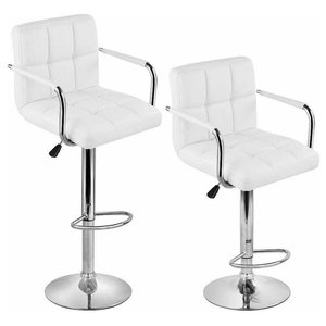 Modern Set of 2 Bar Stools Upholstered, White PU Leather With Arm and Footrest