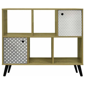 Contemporary Sideboard, Oak Particle Board With 2-Door and Open Shelves
