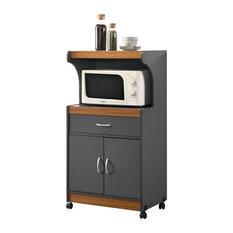 Hodedah Microwave Contemporary Wooden Kitchen Cart in Grey-Oak Finish