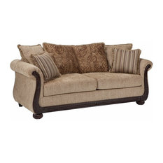 Benzara, Woodland Imprts, The Urban Port   Sofa, Brown   Sofas
