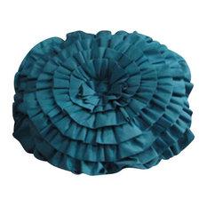 Artistic Sensations - Ruffled Rose Turquoise Pillow - Kids Pillows