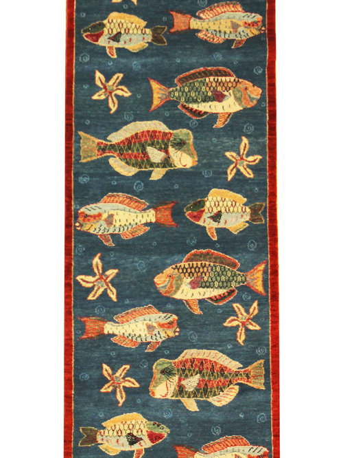 Oriental rugs with fish for Fish area rug