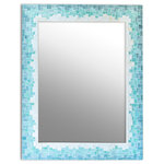 Live In Mosaics - Gradient Mirror, 24x34 - Done in tranquil shades of soft marbled beige, a vibrant sea green and a deep blue, this stunning glass mosaic bathroom wall mirror will nicely compliment your beach decor. The detail on this mirror is true artisan quality with each glass tile cut by hand and then placed individually to create this pretty ombre effect. The tile encompasses all sides of the mirror for a finished look.  Comes with an attached picture wire and enclosed hook for easy wall mounting. Five sizes available (details below). Handmade in the USA.