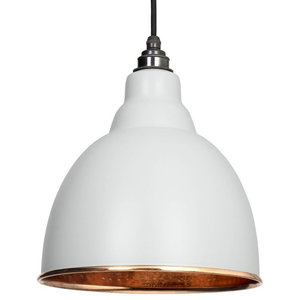 From The Anvil Brindley Pendant, Light Grey Hammered Copper