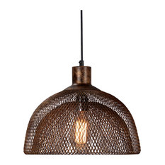 "Polaris Distressed Iron Mesh Pendant Small, Rustic Bronze, 15"" by Kosas Home"