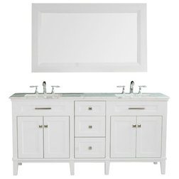 Simple Beach Style Bathroom Vanities And Sink Consoles Christine Double Sink Vanity With Travertine Marble