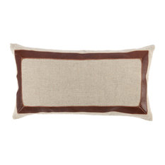 "Kosas Home Mavis 100% Linen 14""x26"" Throw Pillow, Brown/Natural"