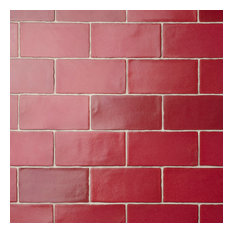 "SomerTile 3"" x 6"" Antic Special Ceramic Wall Tile, Case of 32, Red"