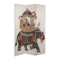 6' Tall Double Sided Raja's Elephant Canvas Room Divider
