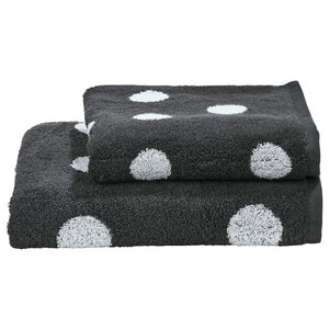 Dots Towel Collection, Anthracite and White, Set of 2